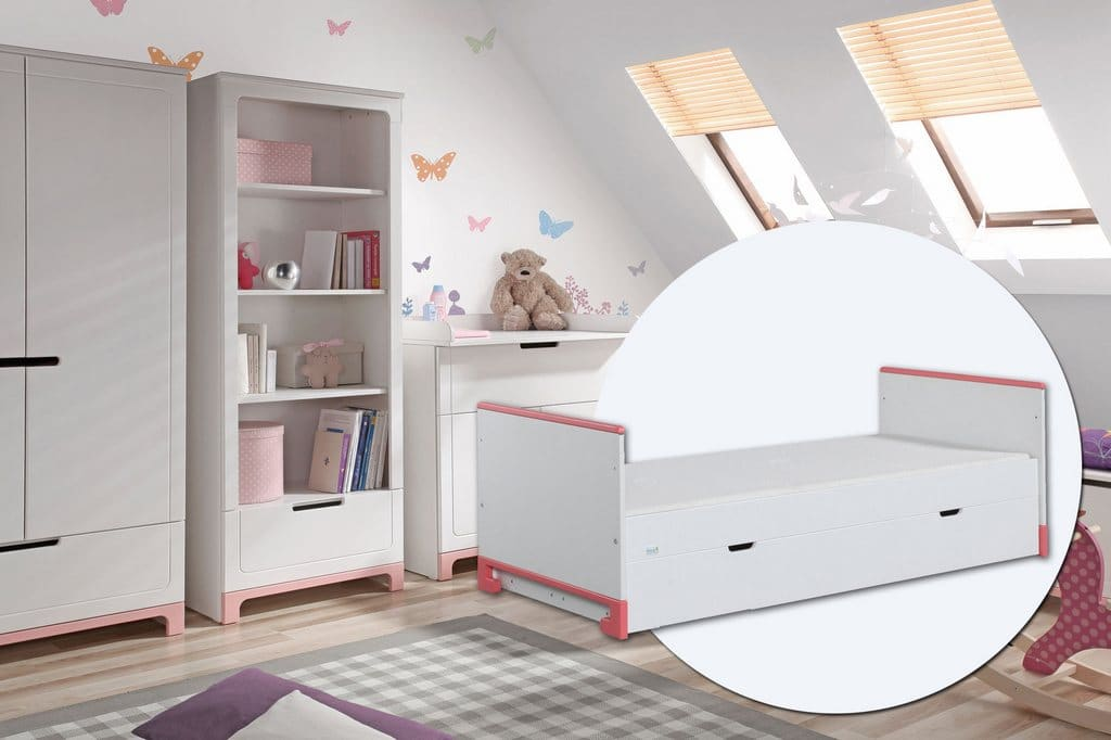 PINIO Mini Rose Fille  4 meubles  lit 200×90, commode