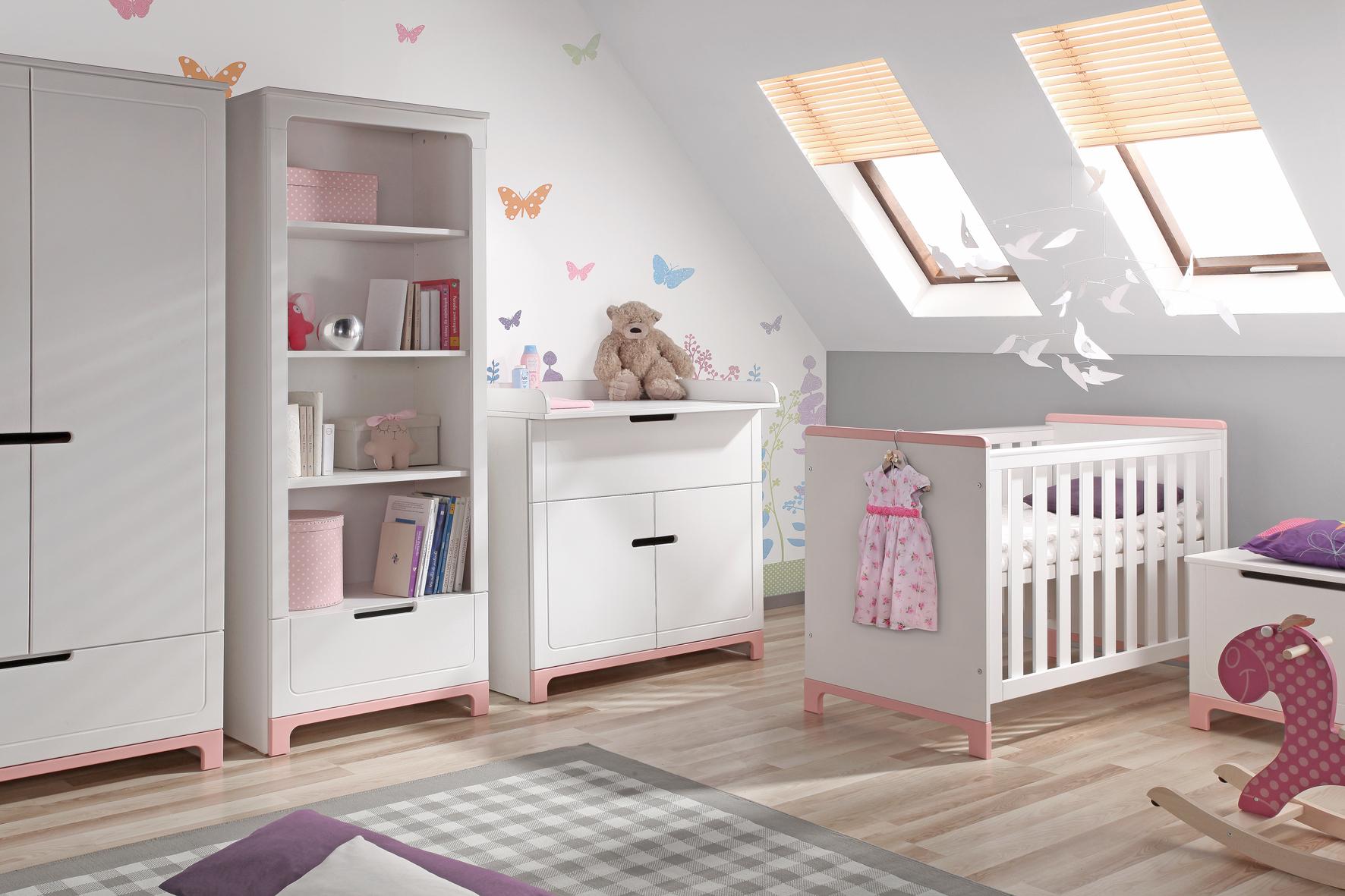 PINIO Mini Rose Fille - 5 meubles - lit 160x70, commode , armoire ...
