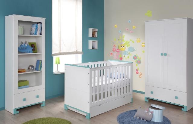Pinio bleu gar on 5 meubles lit 120x60 commode for Chambre complete bebe garcon