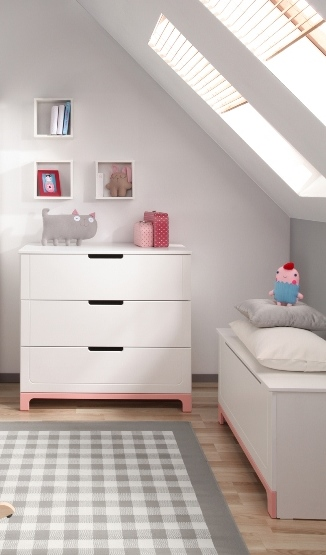 Pinio mini rose fille 3 meubles lit 120x60 commode - Chambre bebe fille complete ...