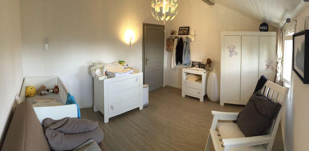 Chambre bébé évolutive Pinio collection Moon à l'honneur grâce à une fidèle cliente du département 74  très satisfaite