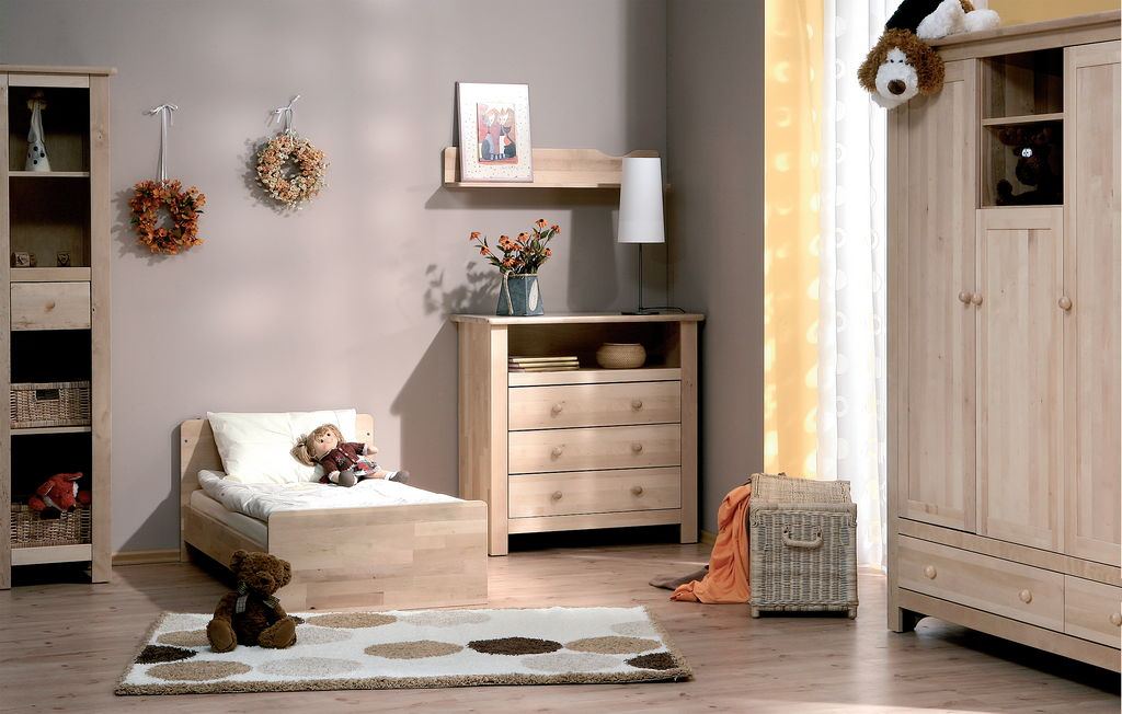 Atb nature 6 meubles lit commode armoire 3 portes for Chambre bebe complete evolutive