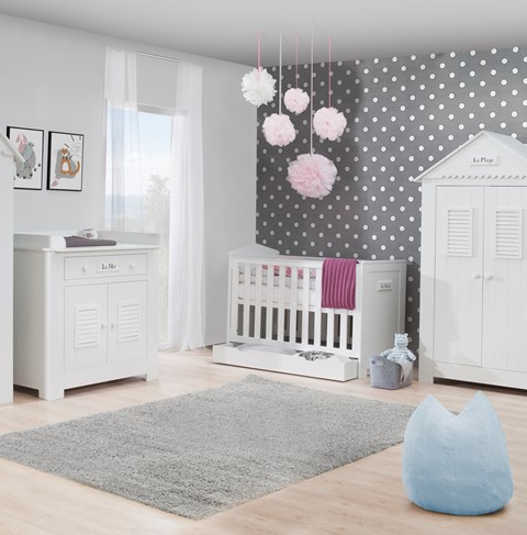 pinio plage 3 meubles lit 120x60 commode armoire haute 2 portes baby boutique en. Black Bedroom Furniture Sets. Home Design Ideas