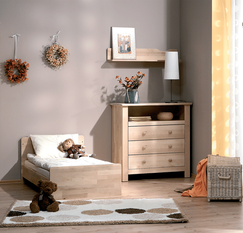 atb nature 4 meubles lit 140x70 commode armoire 2 portes tag re murale baby. Black Bedroom Furniture Sets. Home Design Ideas