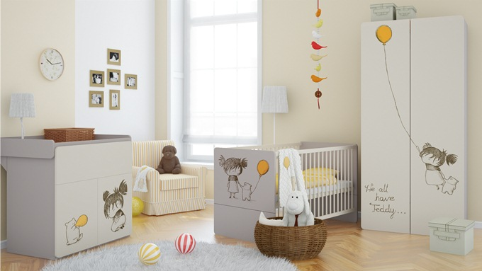 baby vox 2pir fille 4 meubles lit 140x70 commode armoire 2 portes tag re murale baby. Black Bedroom Furniture Sets. Home Design Ideas