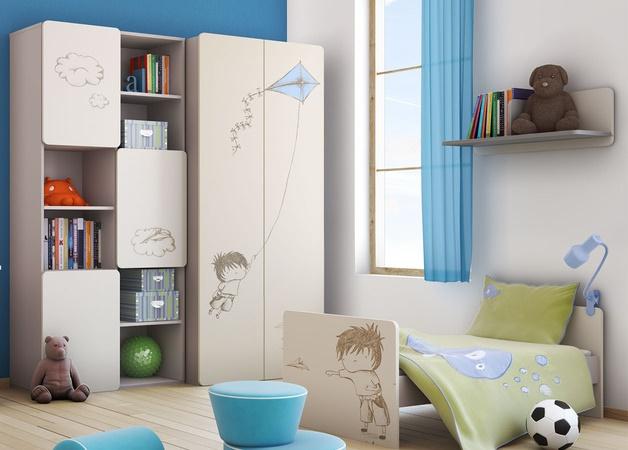 baby vox 2pir gar on 5 meubles lit 140x70 commode armoire 2 portes grande biblioth que. Black Bedroom Furniture Sets. Home Design Ideas