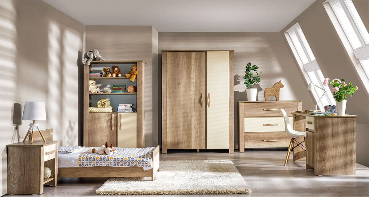 Atb ivo 4 meubles lit 140x70 commode armoire 2 for Chambre bebe complete evolutive