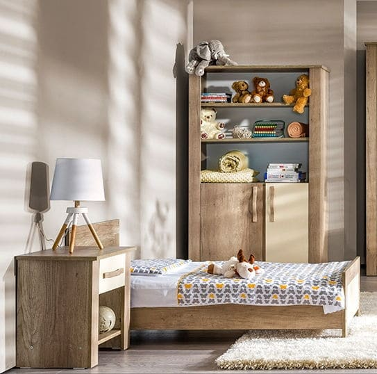 atb ivo 5 meubles lit 140x70 commode armoire 2 portes grande biblioth que tag re murale. Black Bedroom Furniture Sets. Home Design Ideas