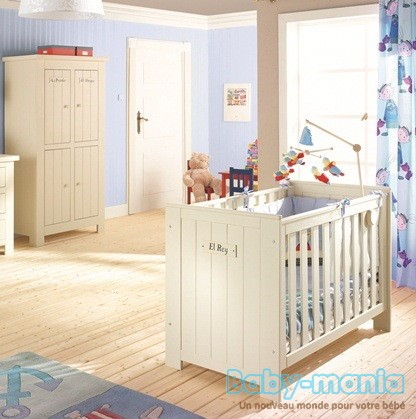 Pinio barcelona 2 meubles lit 120x60 commode baby for Chambre barcelona