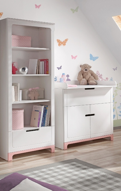 pinio mini rose fille 5 meubles lit 140x70 commode armoire 2 portes grande biblioth que. Black Bedroom Furniture Sets. Home Design Ideas