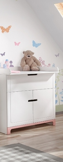 pinio mini rose fille 3 meubles lit 140x70 commode armoire 2 portes baby. Black Bedroom Furniture Sets. Home Design Ideas