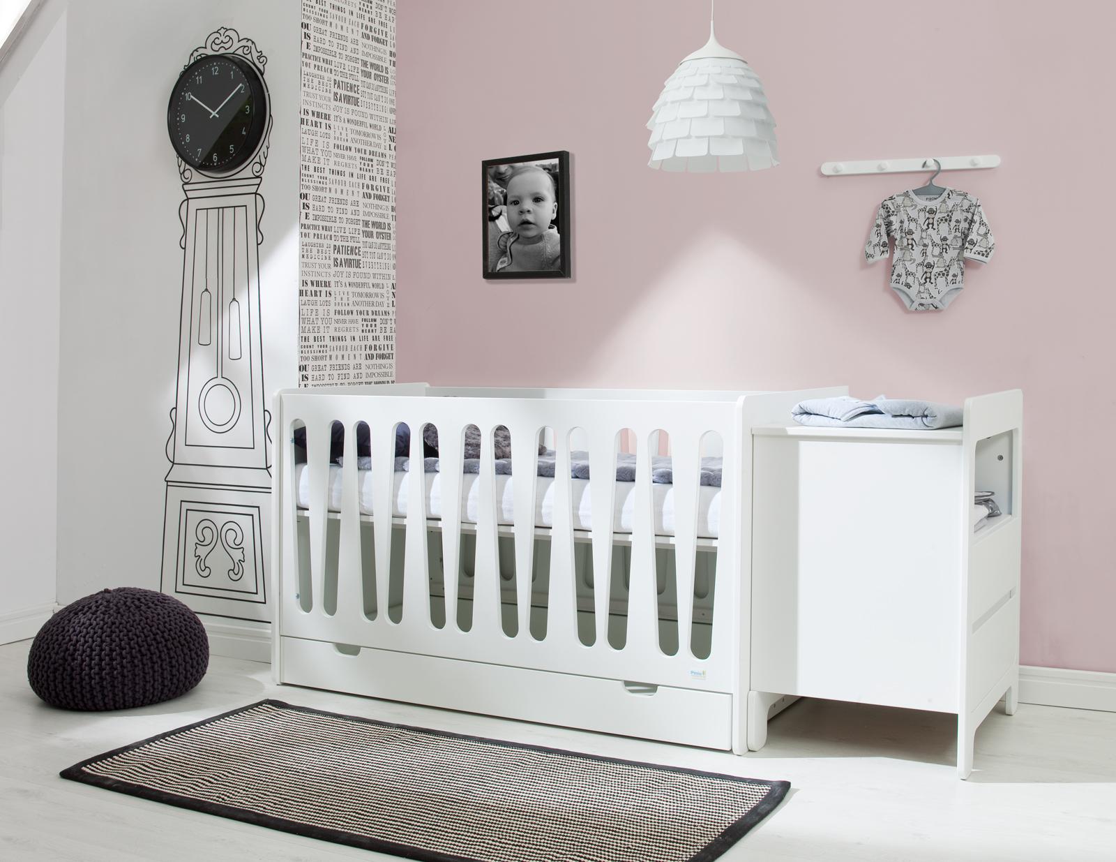 Pinio moon 2 meubles lit 140x70 sans tiroir commode 2 for Chambre adulte complete venise ii sans tiroir lit