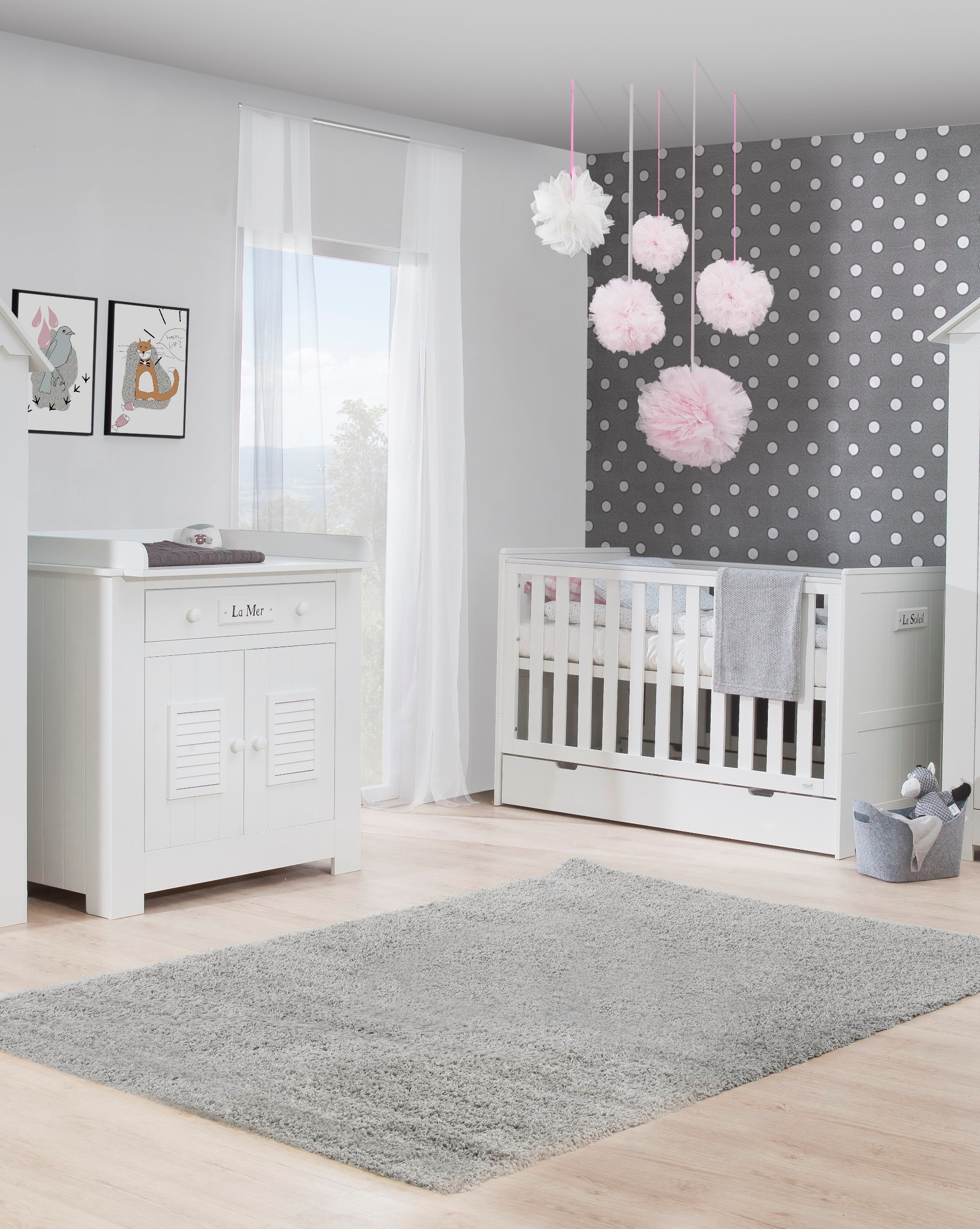 Pinio plage 3 meubles lit 140x70 commode armoire for Chambre bebe complete evolutive