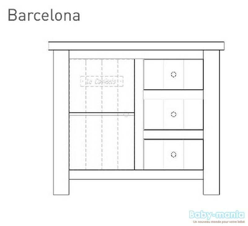 Pinio barcelona 3 meubles lit 120x60 commode armoire for Meuble barcelona