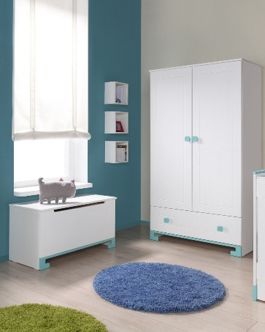 Pinio bleu gar on 4 meubles lit 160x70 commode armoire 2 portes coffre - Commode chambre garcon ...