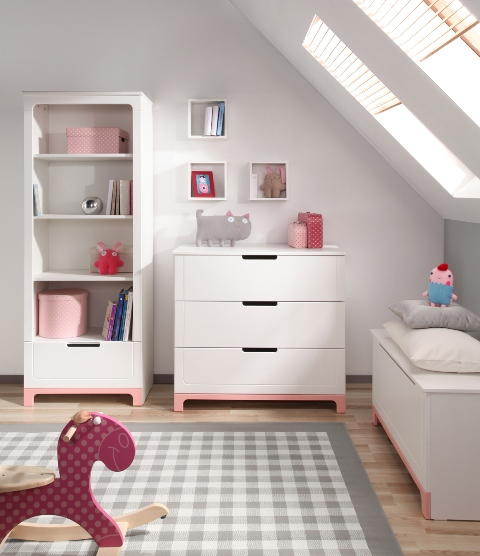 pinio mini rose fille 5 meubles lit 160x70 commode armoire 2 portes grande biblioth que. Black Bedroom Furniture Sets. Home Design Ideas
