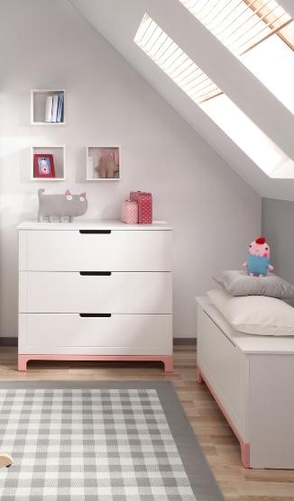Pinio mini rose fille 3 meubles lit 200x90 commode armoire 2 portes ba - Chambre complete ado fille ...