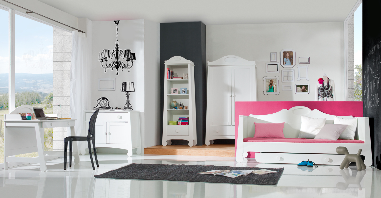pinio parole fille gar on 5 meubles lit 200x90 commode armoire biblioth que bureau baby. Black Bedroom Furniture Sets. Home Design Ideas