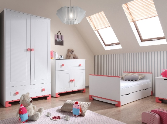 Pinio rose fille 3 meubles lit 200x90 commode - Chambre complete ado fille ...