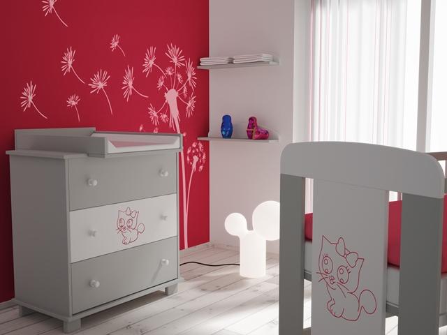 Pacyga petit chaton rose 5 meubles lit avec tiroir for Petit meuble chambre bebe