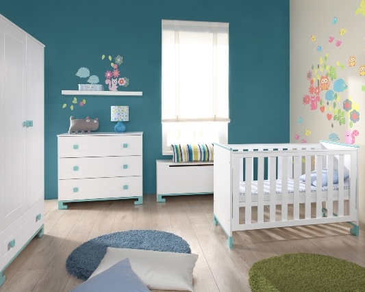 Pinio bleu gar on 4 meubles lit 120x60 commode for Chambre bebe complete evolutive