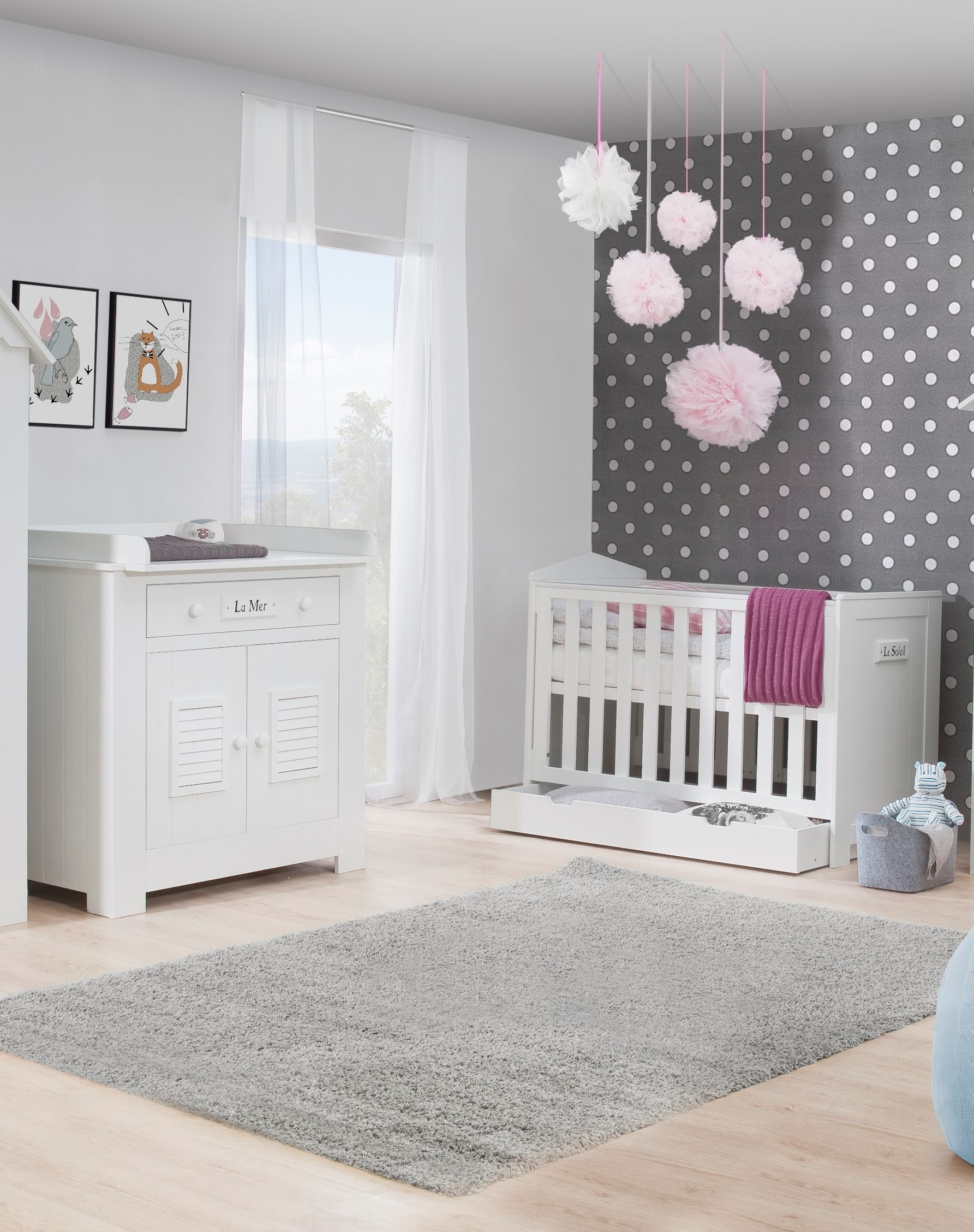pinio plage 3 meubles lit 120x60 commode armoire 3 portes baby boutique en ligne. Black Bedroom Furniture Sets. Home Design Ideas
