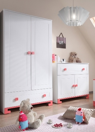 Pinio rose fille 3 meubles lit 120x60 commode - Chambre complete bebe fille ...