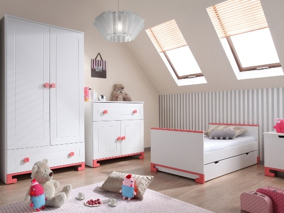 Pinio rose fille 3 meubles lit commode armoire 2 - Chambre bebe fille complete ...