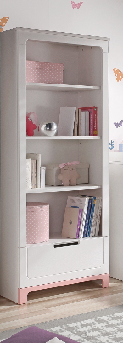 pinio mini rose fille 4 meubles lit 200x90 commode armoire 2 portes grande biblioth que. Black Bedroom Furniture Sets. Home Design Ideas