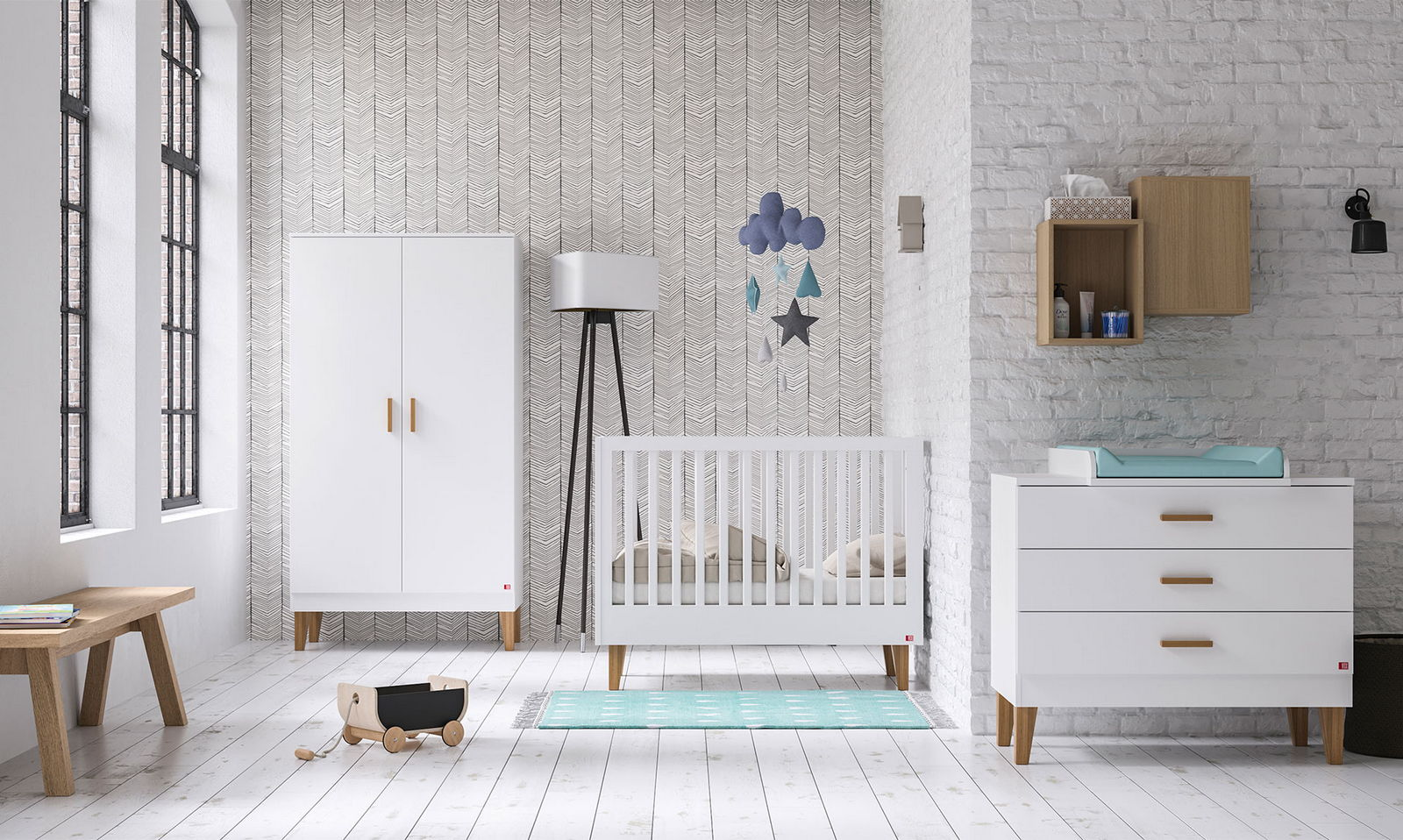 BABY VOX Lounge Blanc - 3 meubles - lit 140x70, commode, armoire 2 ...