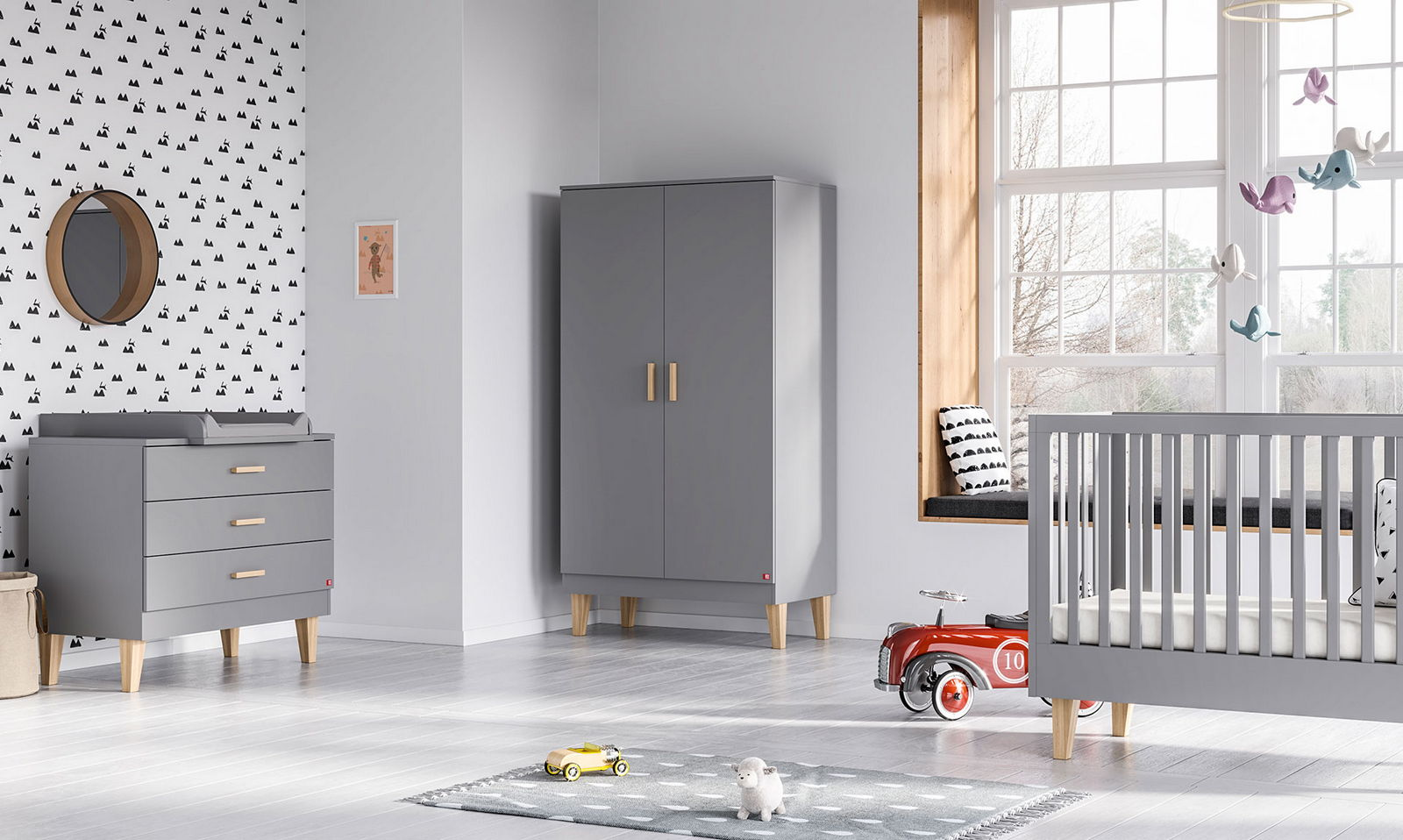 BABY VOX Lounge Gris - 3 meubles - lit 140x70, commode, armoire 2 portes