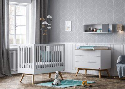BABY VOX Nature Blanc - 3 meubles - lit 140x70, commode, armoire 2 portes