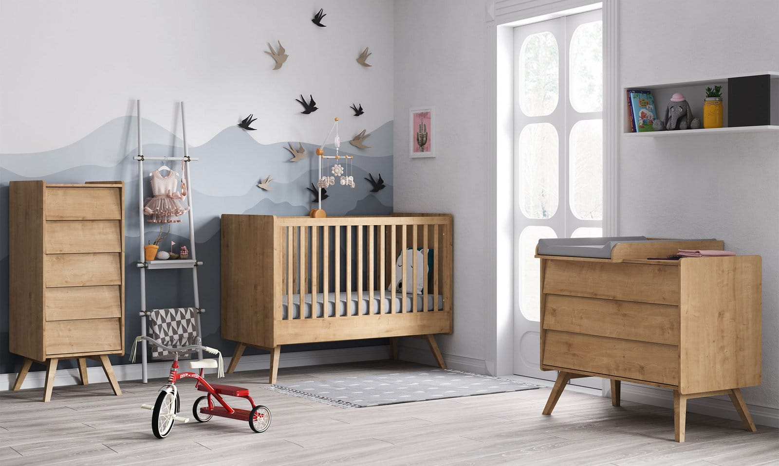 baby vox vintage bois naturel 3 meubles lit 140x70. Black Bedroom Furniture Sets. Home Design Ideas