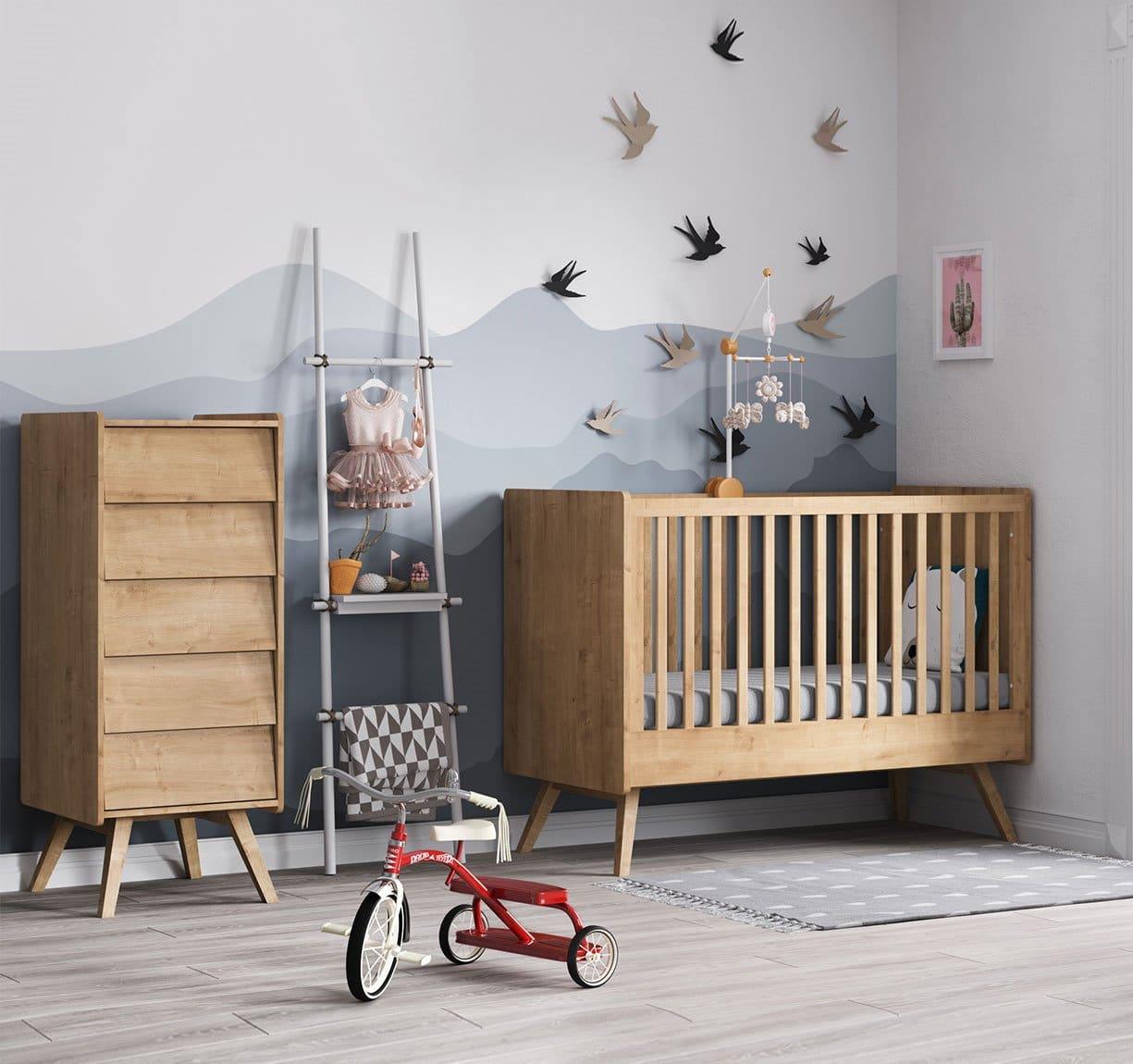 BABY VOX Vintage Bois Naturel - 3 meubles - lit 140x70, commode, chiffonnier