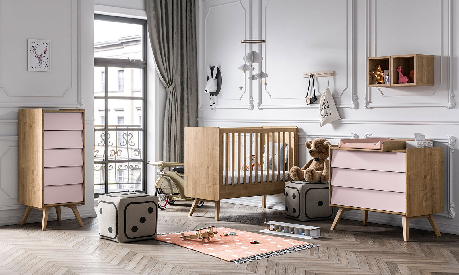 BABY VOX Vintage - 3 meubles - lit 140x70, commode, chiffonnier