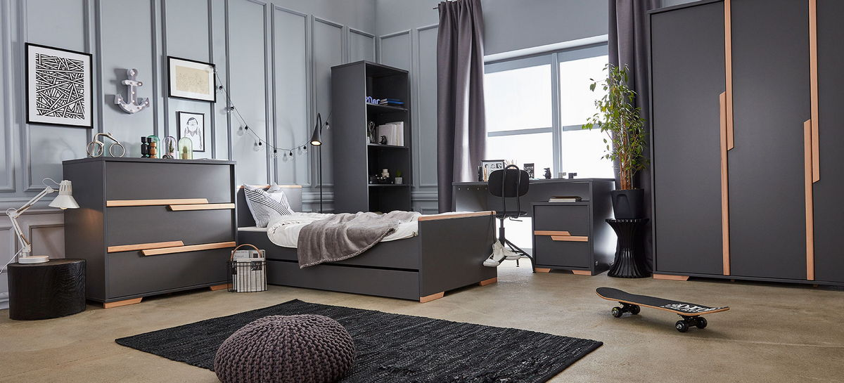 PINIO SNAP Gris - 5 meubles - lit 200x90, commode, armoire 3 portes ...